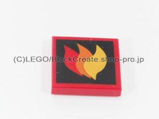 #3068 タイル 2x2 フラット 炎 【赤】 /Tile 2x2 with Red Orange and Yellow Flames Pattern :[Red]