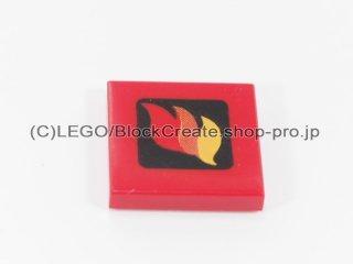 #3068 タイル 2x2 フラット 炎(小) 【赤】 /Tile 2x2 with Red Orange and Yellow Flames Pattern :[Red]