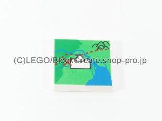 #3068 タイル 2x2 フラット 地図 【白】 /Tile 2x2 with Map Decoration :[White]