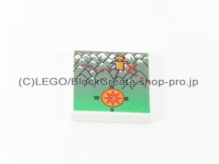 #3068 タイル 2x2 フラット 地図 【白】 /Tile 2x2 with Decoration :[White]