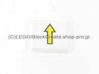 #3068 タイル 2x2 フラット 黄色矢印 【白】 /Tile 2x2 with Yellow Arrow with Black Border :[White]