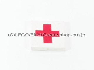 #3068 タイル 2x2 フラット 赤十字 【白】 /Tile 2x2 with Red Cross :[White]