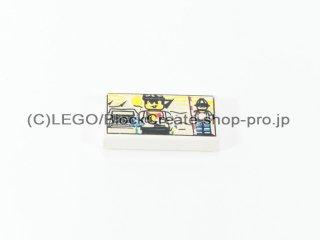 #3069 タイル 1x2 フラット プリント 【白】 /Tile 1x2 with Decoration :[White]