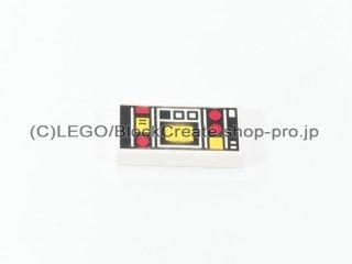 #3069 タイル 1x2 フラット 赤黄コントロール 【白】 /Tile 1x2 with Red & Yellow Controls :[White]