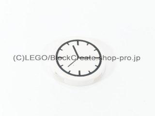 #4150 タイル 2x2 フラットラウンド 時計 【白】 /Round Tile 2x2 with Clock Pattern :[White]