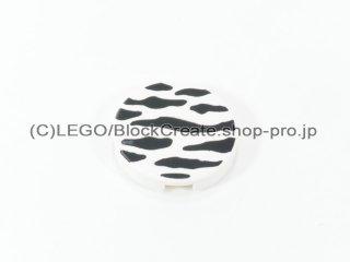 #4150 タイル 2x2 フラットラウンド プリント 【白】 /Round Tile 2x2 with Decoration :[White]