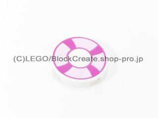 #4150 タイル 2x2 フラットラウンド 浮き輪 【白】 /Round Tile 2x2 with Decoration :[White]