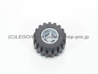 #6014b/87697 ホイール 11x12 ノッチ (タイヤ付)【新灰】 /Wheel Rim Wide 11x12 with Notched Hole:【Light Bluish Gray】