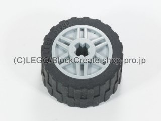 #55982/24341 ホイール 18x14 十字穴 (タイヤ付) 【新灰】 /Wheel Rim 18x14 with Axle Hole :[Light Bluish Gray]