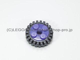 #6248/3483 ホイール 10x17.4 (タイヤ付)  【ダークパープル】 /Wheel Rim 10x17.4 with 4 Studs and Technic:【Dark Purple】