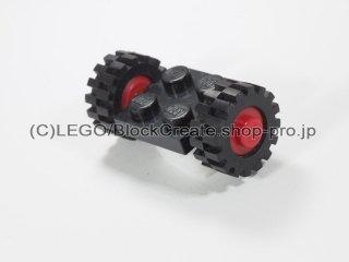#122/3641 プレート 2x2 ホイール(タイヤ付)  【黒】 /Plate 2x2 with Wheels(Small Tire with Offset Tread) :【Black】