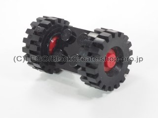 #122/4084 プレート 2x2 ホイール(タイヤ付)  【黒】 /Plate 2x2 with Wheels(Tyre 8/ 75x8 Offset Tread) :【Black】