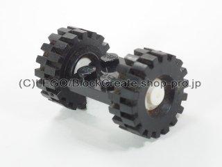 #122/4084 プレート 2x2 ホイール(タイヤ付 白)  【黒】 /Plate 2x2 with Wheels(Tyre 8/ 75x8 Offset Tread) :【Black】