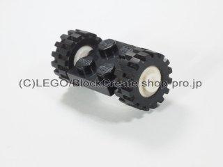 #122/3641 プレート 2x2 ホイール(タイヤ付 白)  【黒】 /Plate 2x2 with Wheels(Small Tire with Offset Tread) :【Black】