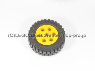 #2695/2696 ホイール 30mm x 12.7mm 段付 (タイヤ付)  【黄色】 /Wheel Rim 30mmx12.7mm Stepped :【Yellow】