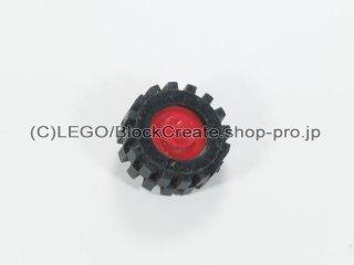 #3464/3641 プーリーホイール (タイヤ付)【赤】 /Wheel Centre with Stub Axles :[Red]