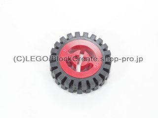 #3482/3483 ホイール ハブ 8x17.5 軸穴 (タイヤ付)  【赤】 /Wheel Hub 8x17.5 with Axlehole :【Red】