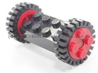 #4180 ブロック 2x4 ホイールホルダー(タイヤ付)  【黒】 /Brick 2x4 Wheels Holder with Red Freestyle Wheels :【Black】