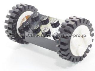 #4180 ブロック 2x4 ホイールホルダー(タイヤ付 白)  【黒】 /Brick 2x4 Wheels Holder with White Freestyle Wheels :【Black】
