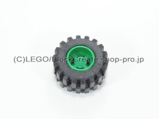 #6014b/6015 ホイール 11x12 ノッチ (タイヤ付)  【緑】 /Wheel Rim Wide 11x12 with Notched Hole :【Green】