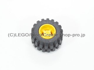 #6014b/6015 ホイール 11x12 ノッチ (タイヤ付)  【黄色】 /Wheel Rim Wide 11x12 with Notched Hole :【Yellow】
