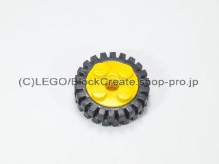 #6248/3483 ホイール 10x17.4 (タイヤ付)  【黄色】 /Wheel Rim 10x17.4 with 4 Studs and Technic:【Yellow】
