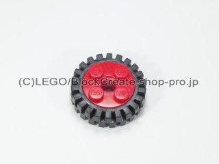 #6248/3483 ホイール 10x17.4 (タイヤ付)  【赤】 /Wheel Rim 10x17.4 with 4 Studs and Technic:【Red】