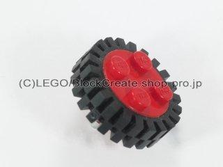 #7039/3483 ホイール 18x8 ピンつき (タイヤ付) 【赤】 /Wheel Rim 8x18 with 4 Studs and Cylindrical Axle :【Red】