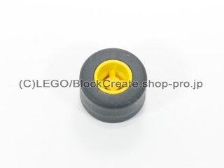 #30027b/30028 ホイール 8x9 ノッチ (タイヤ付)  【黄色】 /Wheel Rim 8mmx9mm Notched Hole :【Yellow】