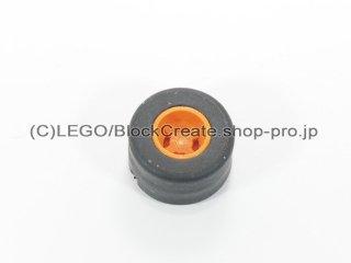#30027b/30028 ホイール 8x9 ノッチ (タイヤ付)  【オレンジ】 /Wheel Rim 8mmx9mm Notched Hole :【Orange】