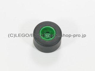 #30027b/30028 ホイール 8x9 ノッチ (タイヤ付)  【緑】 /Wheel Rim 8mmx9mm Notched Hole :【Green】