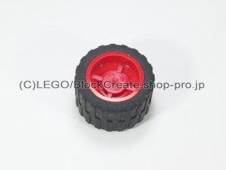 #30285/24341 ホイール ハブ 14.8x16.8 溝 (タイヤ付)  【赤】 /Wheel Hub 14.8x16.8 with Centre:【Red】