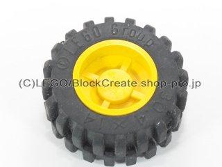 #30285/92402 ホイール ハブ 14.8x16.8 溝 (タイヤ付)  【黄色】 /Wheel Hub 14.8x16.8 with Centre Groove :【Yellow】