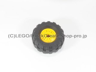#55981/56891 ホイール 18x14 (タイヤ付) 【黄色】 /Wheel Rim 18x14 with Pin Hole :[Yellow]