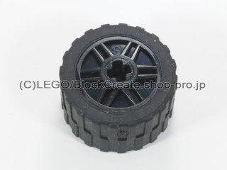 #55982/24341 ホイール 18x14 十字穴 (タイヤ付) 【黒】 /Wheel Rim 18x14 with Axle Hole :[Black]