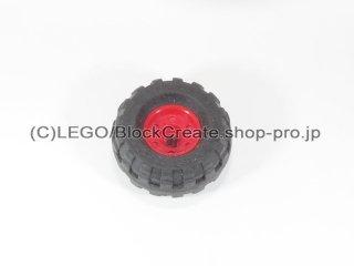 #55982/56891 ホイール 18x14 十字穴 (タイヤ付) 【赤】 /Wheel Rim 18x14 with Axle Hole :[Red]
