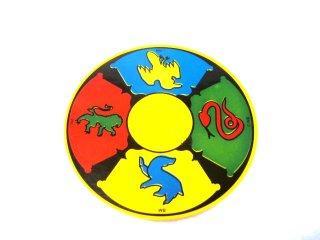 #6177  タイル 8x8 ラウンド センタースタッド プリント  【黄色】 /Tile 8x8 Round with 2x2 Center Studs :[Yellow]