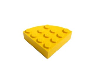 #2577 ブロック ラウンドコーナー 4x4 フルブロック 【黄色】 /Brick  4x4 Corner Round :【Yellow】