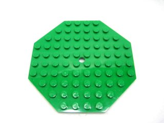 #89523 プレート 10x10 八角形 穴あき 【緑】 /Plate 10x10 Octagonal with Hole and Snapstud :[Green]