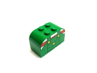 #4744 ブロック 2x4x2 (オーバーオール) 【緑】 /Brick 2x4x2 with Curved Top with Decoration  :[Green]