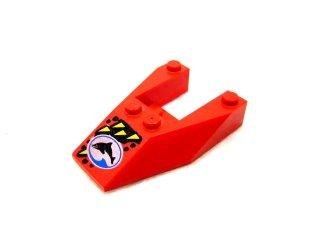 #6153 ウェッジ 6x4 (Diver Team Logo)  【赤】 /Wedge 6x4 Cutout with Decoration without Stud Notches  :[Red]