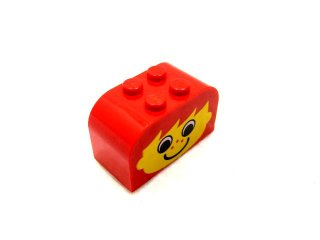 #4744 ブロック 2x4x2 (そばかす顔) 【赤】 /Brick 2x4x2 with Curved Top with Decoration  :[Red]