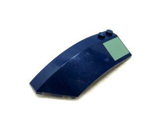 #41750 ウェッジ 3x8x2 カーブ  左プリント  【紺】 /Slope Round Brick 3x8x2 Left with Sand Green Square :[Dark Blue]