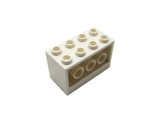 #6061 ブロック 2×4×2  【白】 /Brick 2×4×2 with Holes on Sides :[White]
