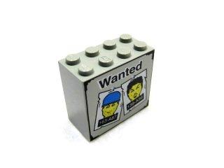 #30144 ブロック 2x4x3 (手配書) 【旧灰】 /Brick 2x4x3 with Wanted and Heads Pattern :[Gray]