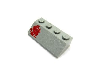#3037 スロープ ブロック 45° 2x4 プリント 左  【旧灰】 /Slope Brick 45° 2x4 with Decoration :[Gray]