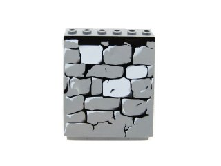 #30156 スロープパネル 6x4x6 石垣  【新濃灰】 /Sloped Panel 6x4x6 with Stone Wall Pattern :[Dark Bluish Gray]