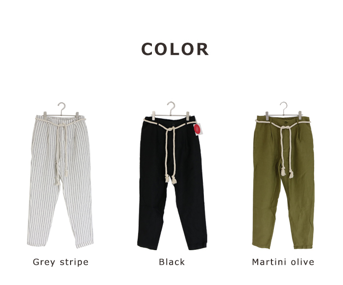 LINEN TALES plantain trousers Easy テーパード