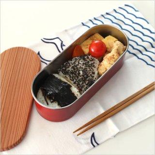 木蓋付きフードボックス ステンレス 小判型 朱/黒