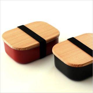 木蓋付きフードボックス ステンレス M 朱/黒
